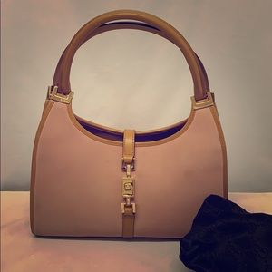 GUCCI Suede and Leather Handbag Rose